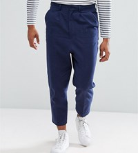 Asos Tall Drop Crotch Tapered Smart Trousers In Navy Textured Linen Blend Navy