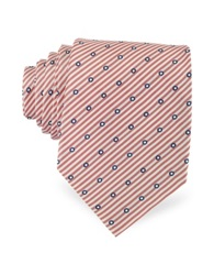 Forzieri Dots And Stripe Print Woven Silk Tie Red White
