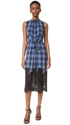 Rebecca Taylor Sleeveless Plaid Dress With Lace Violet Stone Combo