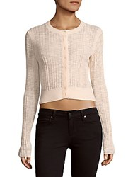 Rebecca Taylor Flamme Textured Ribbed Cardigan Ballet