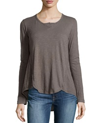 W By Wilt Shrunken Long Sleeve Henley Cement