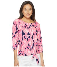 Lilly Pulitzer Robyn Top High Tide Navy Via Amor Women's Clothing Pink
