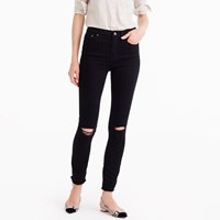 J.Crew Petite Distressed Lookout High Rise Jean In True Black