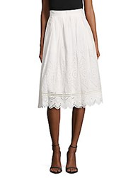 French Connection Josephine Cotton Midi Skirt Summer White