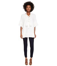 See By Chloe Cotton Tie Ruffle Tunic White Women's Blouse