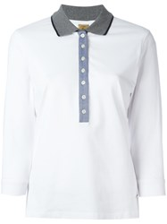 Fay Long Sleeve Polo Top White