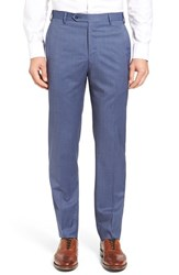 Zanella Men's Flat Front Stripe Wool Trousers Navy