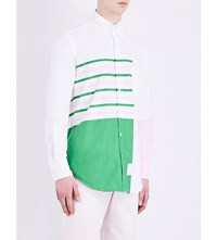 Thom Browne Relaxed Fit Striped Cotton Shirt Lt Green Pink