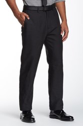 Louis Raphael Solid Straight Fit Flat Front Pant Black