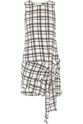 Marissa Webb Tristan Tie Front Checked Silk Crepe Mini Dress White