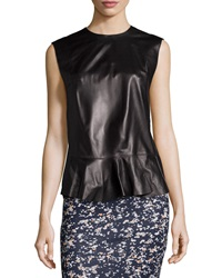 Mcq By Alexander Mcqueen Mcq Alexander Mcqueen Sleeveless Leather Peplum Top Black