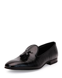Calfskin Tuxedo Tasseled Loafer Black Bally Red