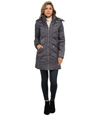 Sam Edelman Zip Front 3 4 Puffer Coat Charcoal Women's Coat Gray