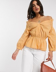 Y.A.S Off Shoulder Blouse With Smock Detail In Yellow Check Multi