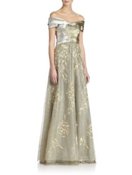 Rene Ruiz Tiered Tulle Gown Gold