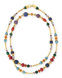 Jose And Maria Barrera Long Beaded Stone Necklace Gold