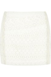Maje Enduit Leather Trimmed Cotton Macrame Mini Skirt White