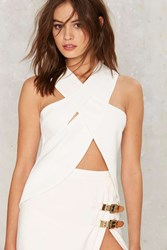 Lavish Alice Work Through It Criss Cross Top White
