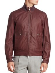 Brunello Cucinelli Leather Bomber Jacket Burgundy