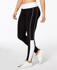 Material Girl Active Juniors' Colorblocked Lace Up Yoga Leggings Created For Macy's Classic Black