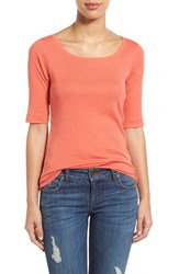 Women's Caslon Ballet Neck Cotton And Modal Knit Elbow Sleeve Tee Coral Spice