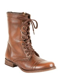 Steve Madden Troopa Leather Combat Boots Brown Leather