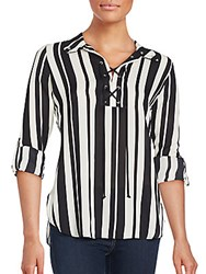 Status By Chenault Striped Lace Up Shirt Black White