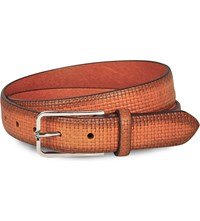 Corneliani Stamped Squares Leather Belt Orange