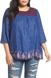 Lucky Brand Plus Size Women's Embroidered Yoke Peasant Top