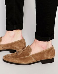 Dune Tassel Loafers Suede Tan