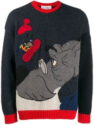 Jc De Castelbajac Vintage Cartoon Knit Sweater Blue