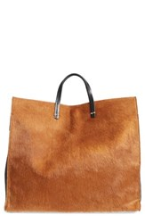 Clare V. Mini Stripe Simple Genuine Calf Hair And Leather Tote Brown Tan Hair On