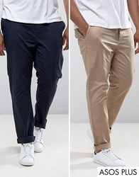 Asos Plus 2 Pack Slim Chinos In Stone And Navy Save Multi