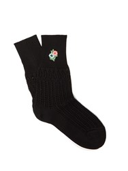 Gucci Floral Embroidered Pointelle Knit Ankle Socks Black