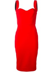 Victoria Beckham Sleeveless Fitted Dress Red