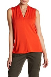 Vince Camuto Sleeveless V Neck Blouse Red