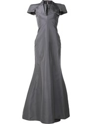 Zac Posen V Neck Gown Grey