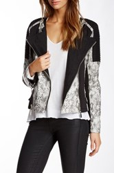 Fillmore Faux Leather Snake Print Mixed Media Moto Cross Jacket Black