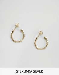 Asos Gold Plated Sterling Silver 18Mm Bamboo Earrings Gold