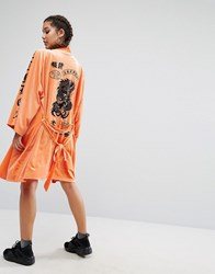 Jaded London Trophy Kimono In Velvet With Tattoo Patches Print Orange