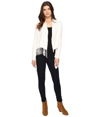 Christin Michaels Evelyn Fringed Wrap Cardigan Ivory Women's Sweater White