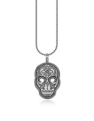 Thomas Sabo Men's Necklaces Blackened 925 Sterling Silver And Zirconia Pave Necklace W Skull Pendant