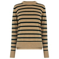 Warehouse Boxy Stripe Crew Neck Jumper Black