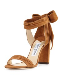 Jimmy Choo Kora Suede Ankle Wrap 85Mm Sandal Canyon