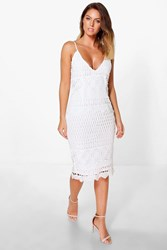Boohoo Riana Crochet Midi Bodycon Dress Ivory