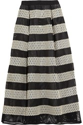 Noir Sachin And Babi Ayako Striped Mesh Maxi Skirt Black