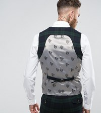 Noose And Monkey Super Skinny Suit Vest In Check Green