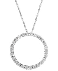 Macy's Diamond Pendant 14K White Gold Diamond Circle 1 4 Ct. T.W.