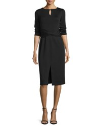Lafayette 148 New York 3 4 Sleeve Wool Dress W Faux Wrap Waist Blue