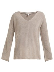 Skin Britta V Neck Cotton Blend Sweater Beige